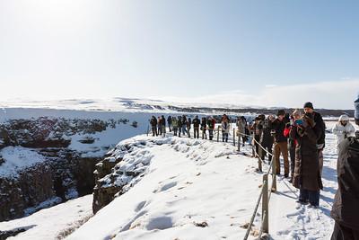 Tourists at Gullfoss