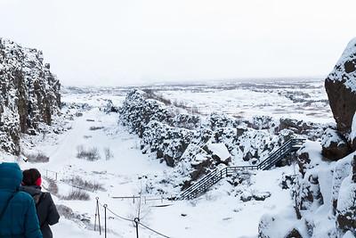 Hiking Down Into Þingvellir