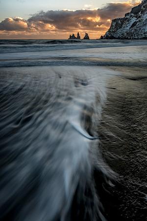Vik beach, sunset visit