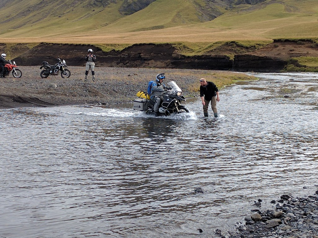 One of many water crossings, with the ever helpful Bram showing the way