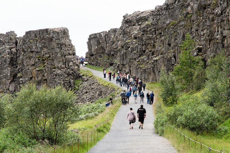 Thingvellir National Park.  Separation of North American and Eurasian  plates (rate of 1 mm to 18 mm per year) along the Almannagja Rift.