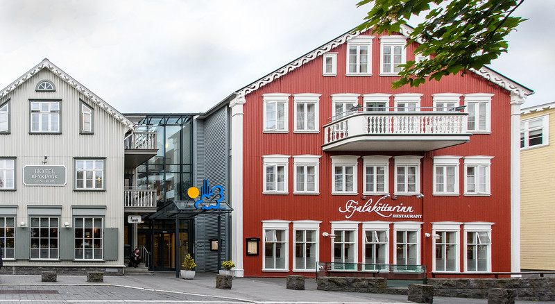 Hotel Reykjavik Centrum, our hotel in Reykjavik.  Red building also houses a very nice restaurant where we had breakfast and one dinner.  Underneath these buildings is The Settlement Museum, displaying artifacts discovered during the construction of these buildings.