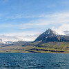Looking back across Berufjordur toward  Bulandstindur mountains after driving around the head of the fjord.<br />  June 14, 2017.