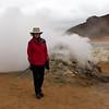 Linda getting warm by fumarole