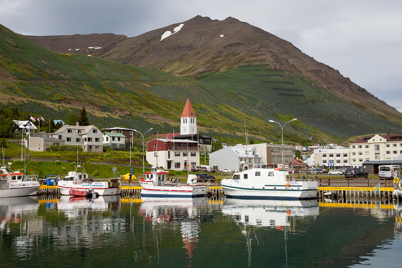 The now quiet harbor of Siglufjörður was a booming herring-fishing center from 1903 to 1968.