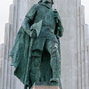 Statue of Viking Leifur Eiriksson, the first European to discover America.  It stands in front of the Hallgrimskirkja in Reykjavik and was a gift from the USA on the 1000th anniversary of the Alping (National Assembly) in 1930.