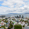 View from atop the Hallgrimskirkja looking out over the old town of Reykjavik and the harbor.