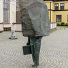 """The monument to """"The Unknown Bureaucrat"""", located near the Reykjavik City Hall (where many bureaucrats work and pass).  Sculpted in 1993 by Magnus Tomasson."""