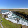 Gullfoss (Golden Falls).  The double tiered cascade drops 32 meters (about 100 feet) in the Hvita River.<br /> June 11, 2017