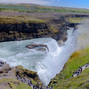 The Hvita River drops over the falls at Gullfoss into a deeply cut ravine.