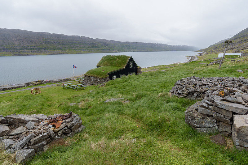 Litlibaer farm, overlooking Skotufjordur, has rock walls and out building foundations remaining from the 19th century.<br /> June 18, 2017