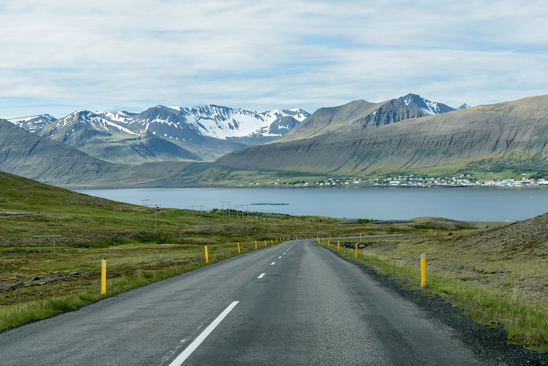 Descending to cross the neck of Dyrafjordur in the West Fjords.