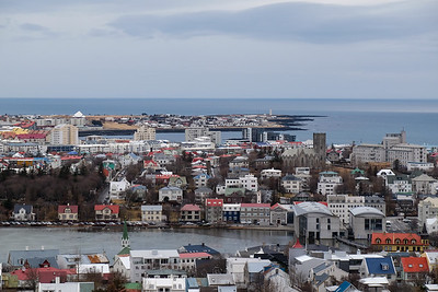 View over City Hall to Landakotskirkja, the cathedral of the Catholic Church, to the North Atlantic Ocean.