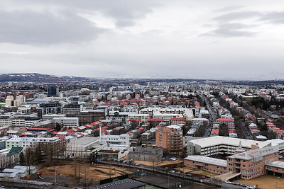 View from the bell tower  Hallgrimskirkja Church.  Walking the streets of Reykjavik, Iceland.