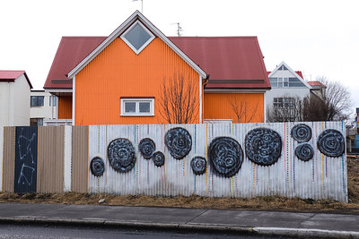 One of many colorful corrugated metal clad houses...
