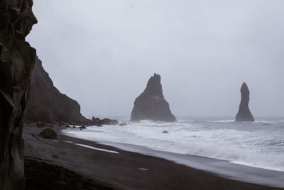 Viewing the Reynisdrangar (sea stacks).