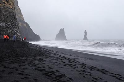 Viewing 2 of the 3 Basalt sea stacks (Reynisdranger Sea Cliffs).