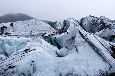 You see many crevasses and moulins (vertical shafts).