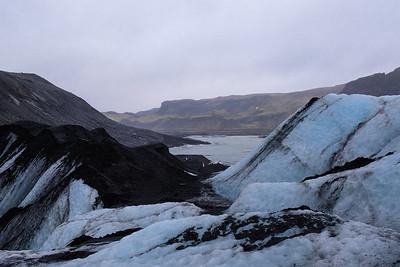 Hiking Glacier Solheimajokull in southern Iceland.