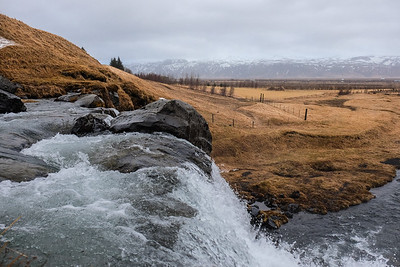 "The Merjka River flows in to the Gluggafoss or ""Window Falls""."
