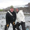 Arah and Steve cling to Svínafellsjökull glacier despite strong winds.