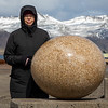 Jan with one of the granite bird eggs.  The granite sculptures are much larger but replicate the shape and color of the actual eggs.  The Japanese sculpture searched the world for the correct-colored granite.