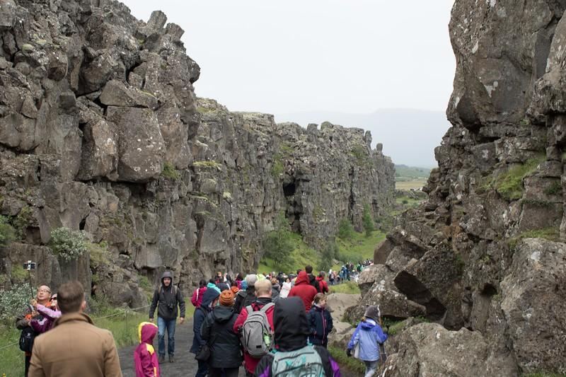 Gulch between tectonic plates, Þingvellir National Park on Golden Circle bus tour