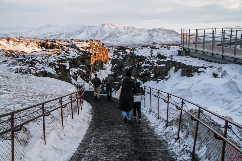 Thingvellir Almannagja canyon im Winter
