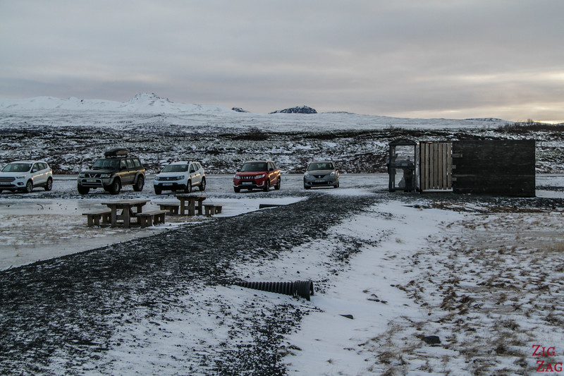 Parkplatz Thingvellir im Winter