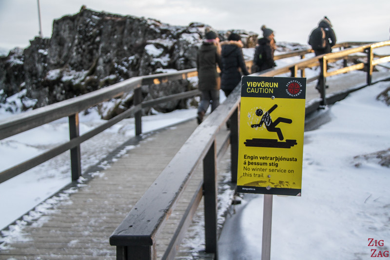 Thingvellir walking path slippery