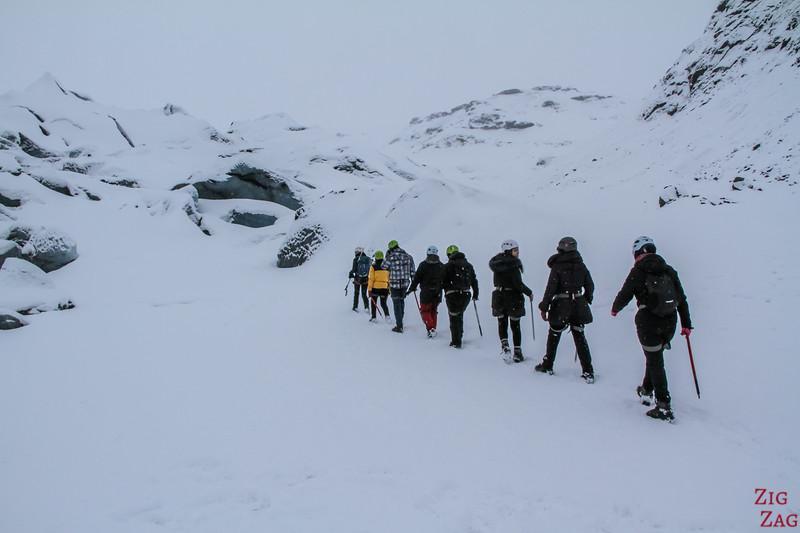 Randonnée sur vers glacier en Islande