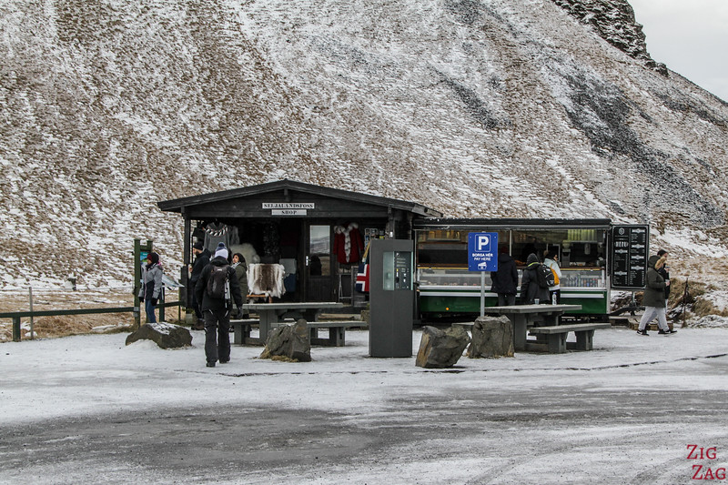 Accès en Hiver à la cascade de Seljalandsfoss - parking