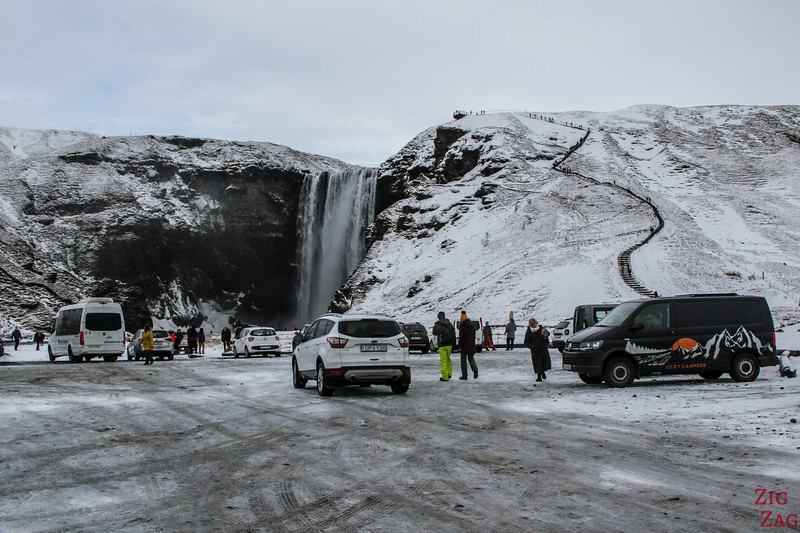 Skogafoss carpark Winter