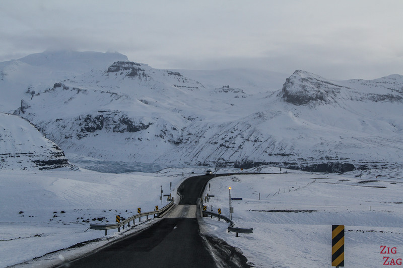 Driving Iceland South Coast Winter - one lane bridge