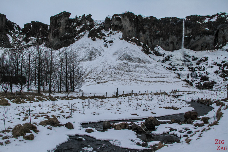 Iceland South Coast Winter Landscapes waterfall