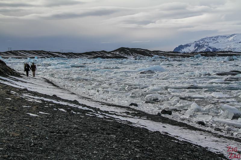 Walking at Jokulsarlon in Winter