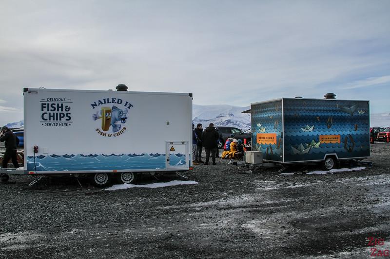 Food trucks at Jokulsarlon