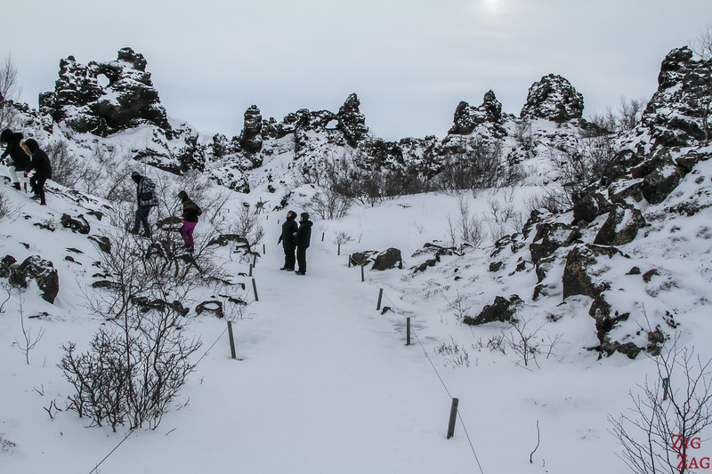 Lava formation of Dimmuborgir in North Iceland in Winter