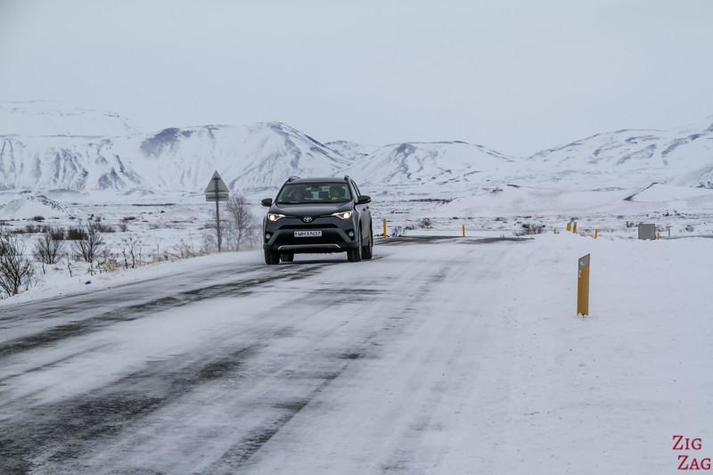 driving around Lake Myvatn in Winter 2