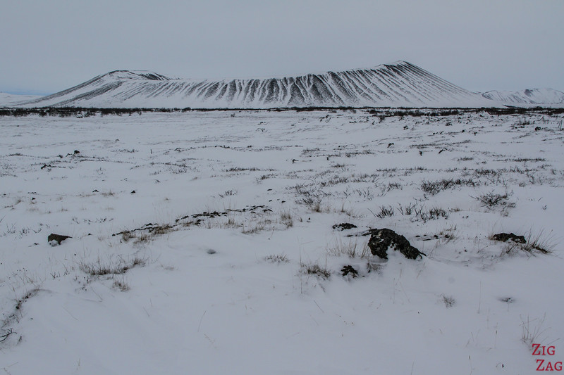 Hverfjall crater in Winter