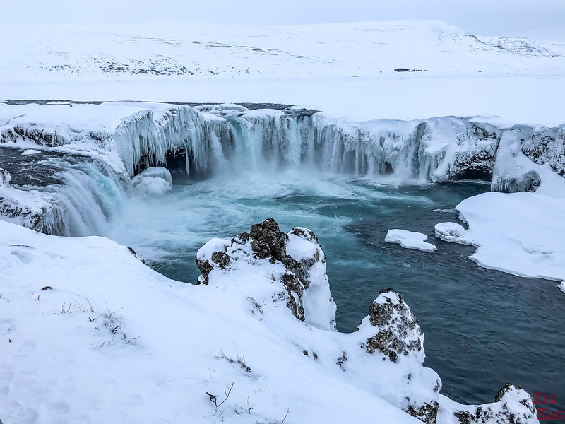 Godafoss in Winter - partially frozen Iceland waterfall