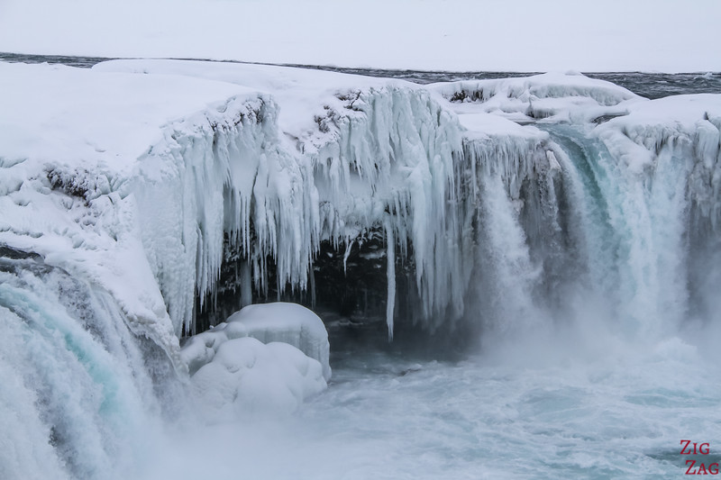 Godafoss in Winter - partially frozen Iceland waterfall 1