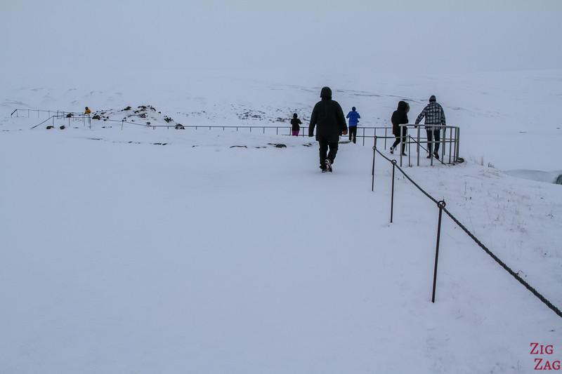 Godafoss walking path in Winter
