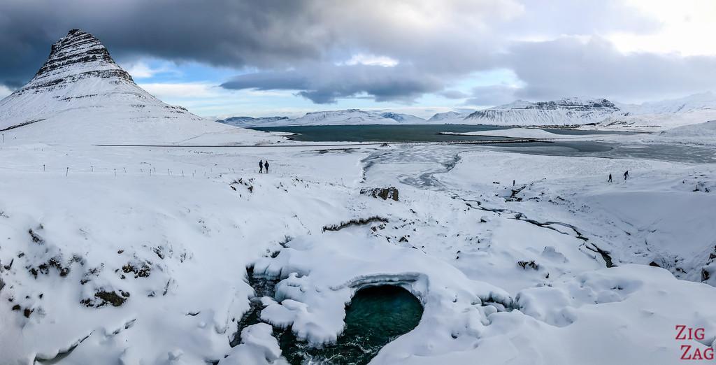 Kirkjufell bridge view in Winter 2