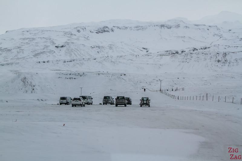 Driving to Kirkjufell - carpark in Winter