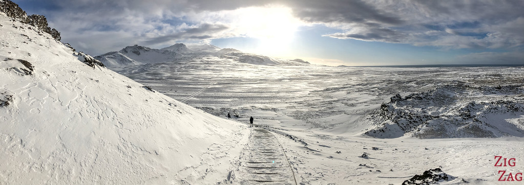 Walking down from the Saxholl crater in Winter