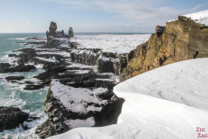 Londrangar lava field in Winter
