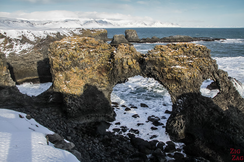Lava cliffs at Arnarstapi in Winter