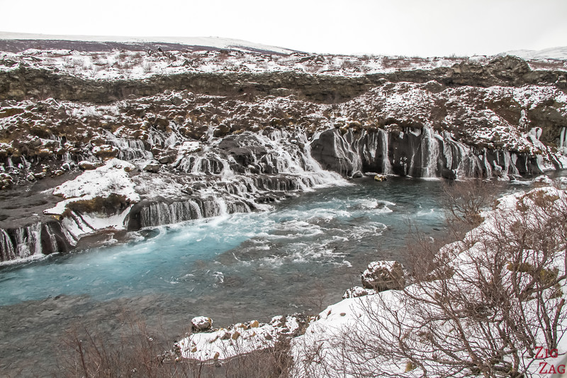 Hraunfossar im Winter