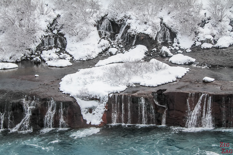 waterfall of Hraunfossar in Winter, Iceland 1